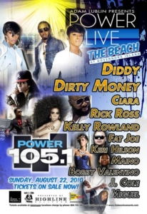 Power Live Governor's Island Dirty Money Diddy Rick Ross Ciara August 22