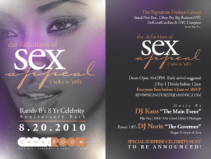 Signature Fridays at Canal Room Definition of Sex Appeal August 20 Friday