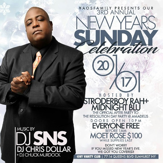 bombparties new years day celebration sunday at NY vanity