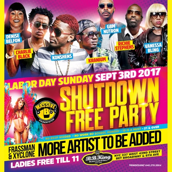 Shutdown Free Party @ BB Kings Sunday September 3, 2017