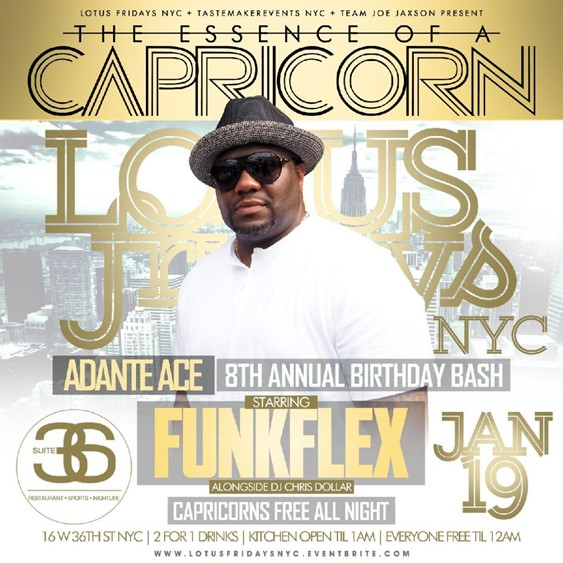 Essence Of A Capricorn @ Suite 36 Friday January 19, 2018