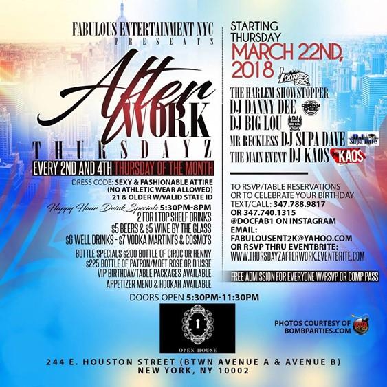 Afterwork Thursdayz @ Open House Thursday March 22, 2018